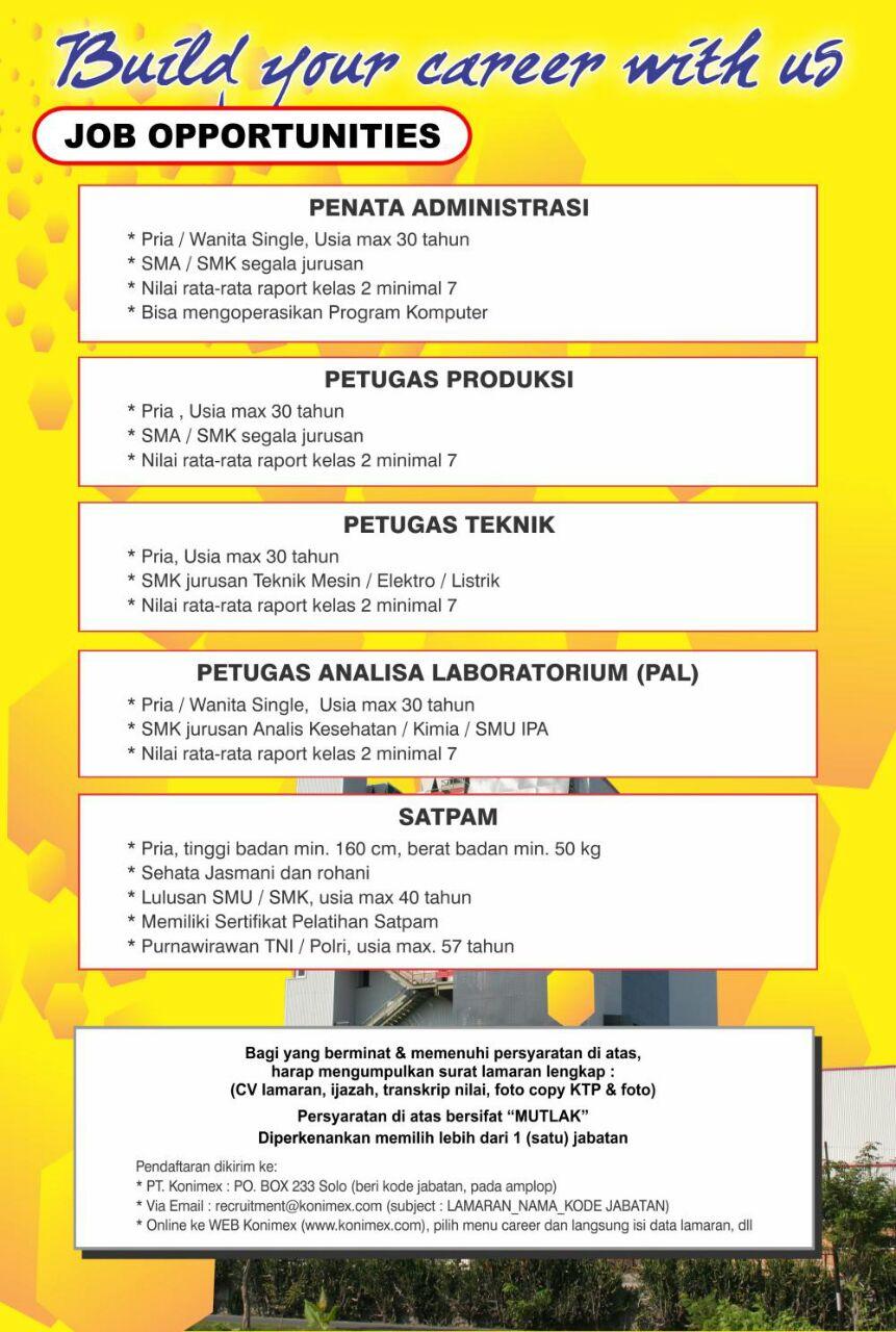 Lowongan Pekerjaan di PT.Konimex - SMK TEKNO-SA